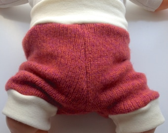3-12 months - Orangey Pink Diaper Cover Wool Shorties - Recycled wool and interlock wool shorts