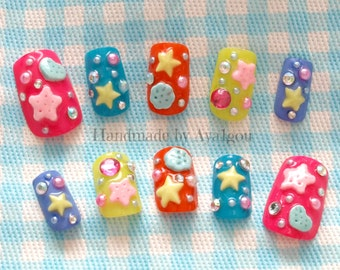 Christmas nails, Japanese 3D nails, rainbow, summer nail, star, Harajuku, pop kei, decora, Japanese fashion, vivid, kawaii nails, deco nail,