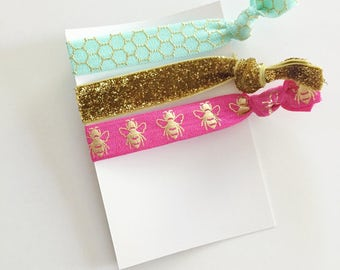 no crease elastic tie hairbands -- honeybee in marine parents inspired colors