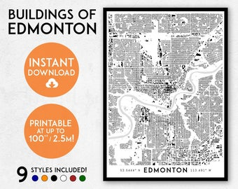 Fantasy style illustrated map of canada canada map art wall edmonton map print printable edmonton map art edmonton print canada map edmonton art edmonton poster edmonton wall art alberta map gumiabroncs Gallery