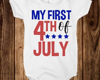 First 4th of July | Red White and Blue Onesie - Infant, Toddler, Custom Vinyl, America, 1st
