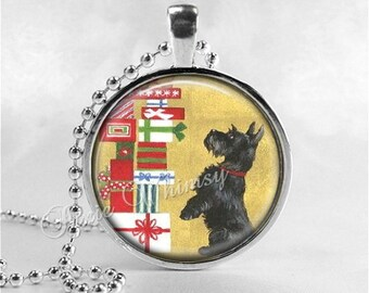 CHRISTMAS SCOTTY Dog Necklace, Scottie Dog Jewelry, Scottish Terrier Jewelry, Scottie Dog, Scotty Dog, Glass Photo Art Pendant Necklace