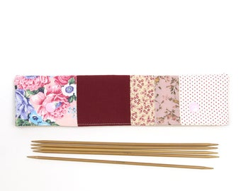 """Floral DPN case for 8"""" / 20cm sock needles, double point needle holder, patchwork DPN cozy with snaps"""
