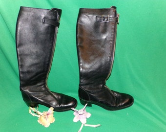 Ruggeri Designer Italian Tall Leather Boots, Zipper with Snaps, Handmade Boots Size 6, Awesome Vintage Find LOW SHIPPING