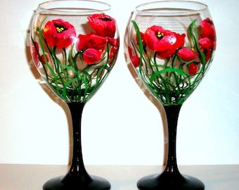 Hand Painted Wine Glasses Red Poppies Set of 2 / 20 oz. Red Poppies Valentines Day Red Mothers Day Maid of Honor Mother of the Bride Gift
