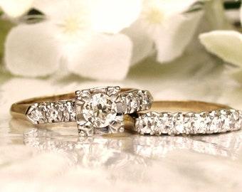 Art Deco Engagement Ring Set 1.17ctw Antique Diamond Wedding Set 14K Two Tone Gold Diamond Wedding Ring Antique Engagement Bridal Set