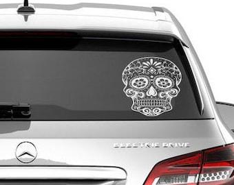 Sugar skull decal, sugar skull laptop decal, Sugar skull car decal,Day of the dead car decal, Dia De Losmuertos decal