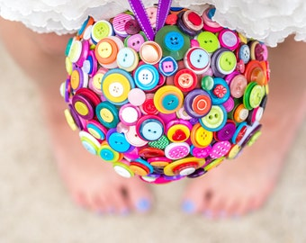 Button Pomander, Wedding Button Bouquet, Colorful Button Bridal Bouquet, Whimsical and Playful Wedding Flower Alternative