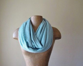 POWDER BLUE Circle Scarf, Baby Blue Infinity Scarf, Lightweight Scarf, Womens Knit Tube Scarf
