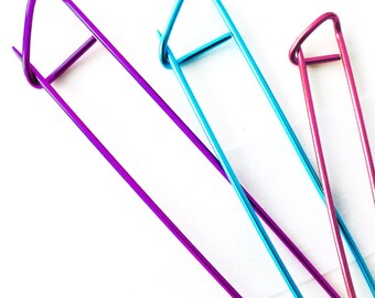 Colorful Stitch Holders Aluminium Pins for Knitters and Crocheters - Three Sizes Available