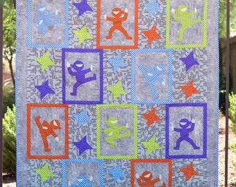 Hi-Yah! - modern applique and basic pieced ninja quilt pattern