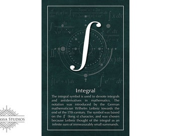 Math Poster, Integral, Calculus, Printable Poster, Maths, Education