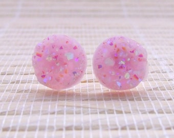 Pink Lavender Druzy Faux Studs Rose Gold Plated 12mm