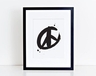 Peace Sign Print- Screenprint- Black or Metallic Gold