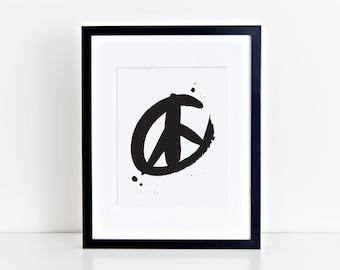 Signe de la paix Estampe - Sérigraphie-noir ou doré