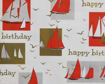 "Vintage Norcross ""Birthday Regatta"" - Nautical Gift Wrap - Wrapping Paper - Mid-Century BOATS - 1950s 1960s"