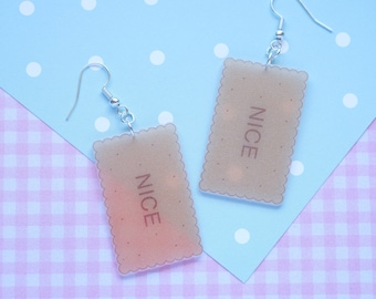 Nice Novelty Biscuit Earrings / Statement / Biscuits / Shrink Plastic / Printed Plastic /Handmade / Retro / Kitch / Food