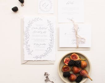 Delicate Hand-Drawn Greenery Foliage Wreath Calligraphy Wedding Invitation, Blue // Available in Letterpress or Gold Foil
