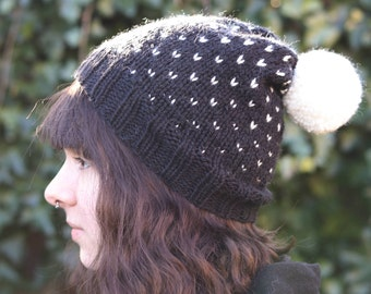 Fair Isle Hat, Chunky Knit Hat, Knit Pom Pom Hat, Chunky Winter Hat, Knit Winter Beanie