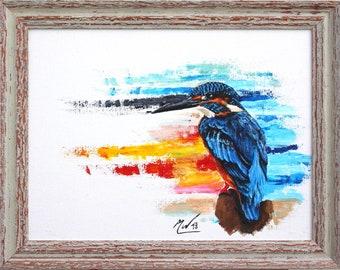Original Acrylic Modern Kingfisher Painting 40x30cm