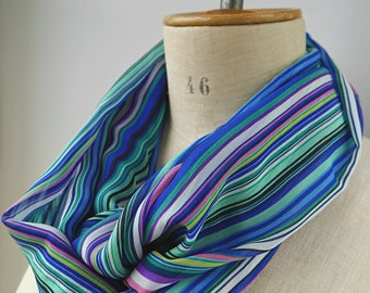 striped scarf, infinity scarf with stripes, striped infinity, cowl stripes, rainbow scarf, striped cowl viscose, blue striped scarf
