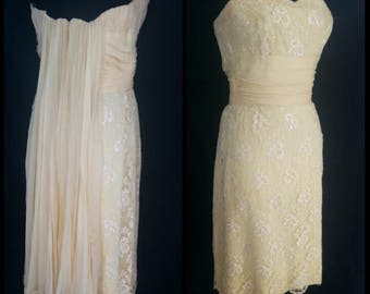 1950s Yellow Lace Sequins Peggy Hunt Wiggle Dress