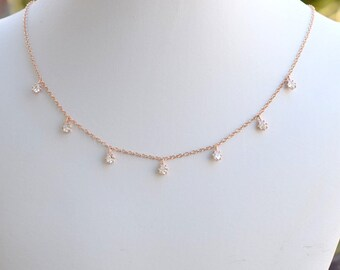 Handmade Rose Gold Cubic Zirconia Teardrop Choker, Rose Gold Choker, CZ Choker, Rose Gold Necklace, Pink Necklace, Wedding Jewelry, N063