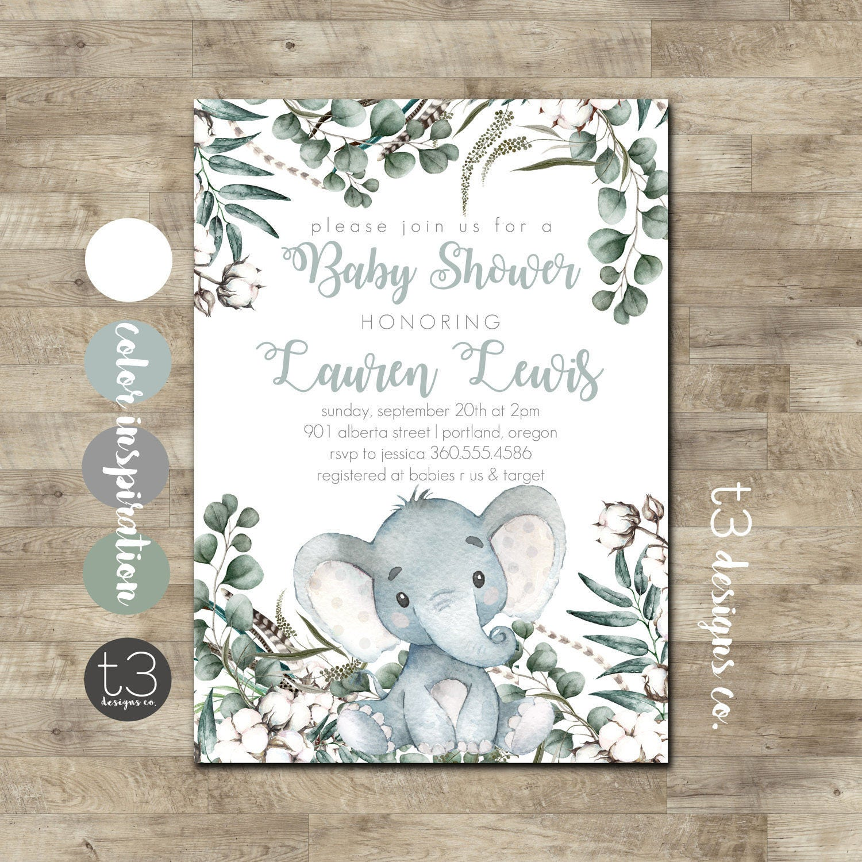 Elephant Baby Shower Invitation Gender Neutral Baby Shower Invite