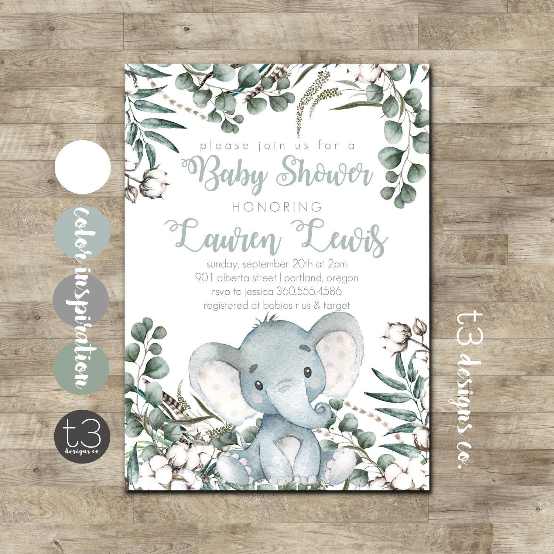 Elephant Baby Shower Invitation, Gender Neutral Baby Shower Invite, Boy Baby  Shower Invitation, Safari Baby Shower, Jungle Invite