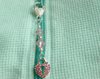 Pink zipper puller, heart key chain, detachable key chain, replacement zipper pull, purse charm, decorative zipper pull, clip on charms