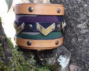 leather Cuff Bracelet and military style fabrics