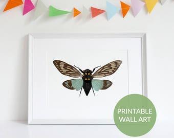Printable Boho Decor, Cicada Nature Prints, Kids Room Decor, Wall Art, Home Decor, Insects, Kids Room Decor, Printable Art, Wall Decor
