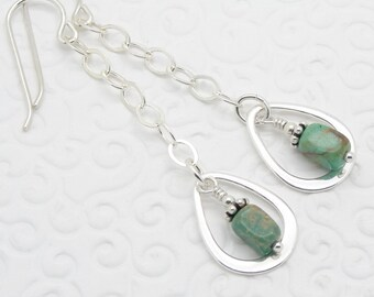 Genuine Turquoise and Sterling Silver Earrings with Teardrop Shaped Hoops in a Boho Style