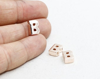 1 Pcs Rose Gold Letter B , 8x10mm , Personalized, initial Pendant, Rose Gold Charms, ROSE36