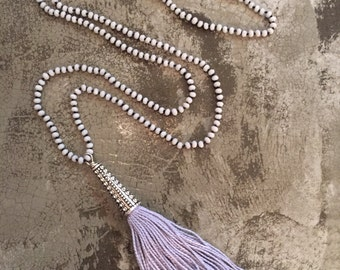 Long Gray Black Hand Knotted Tassel Necklace