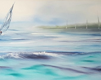 Coming back to Mylor - Yachts Sailing Near Falmouth - Seascape Painting Cornwall.
