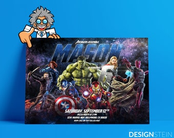 Avengers Birthday Invitation-Thank You Card-Age of Ultron