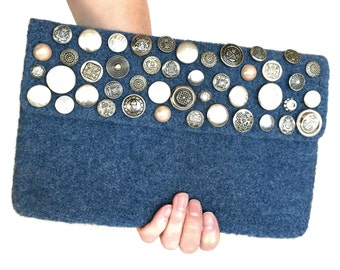 Sac à main pochette feutre tricoté enveloppe feutrée Bettina sac Rabat Jean bleu Vintage boutons argent soie Plaid en laine doublée de Style rétro