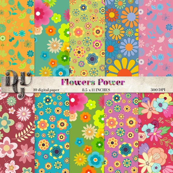 Hippy Flowers Scrapbook Paper Spring Colorful Flower Power