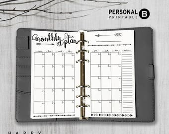 Printable Monthly Planner Inserts, Personal Monthly Planner Inserts, Printable Filofax Personal Monthly inserts, PDF file