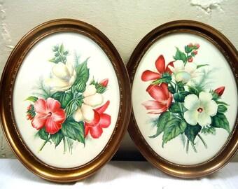 Vintage Mid Century E Serton Framed Botanical Art Set Of Two