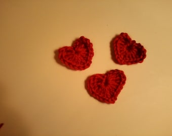 3 hearts crocheted mini red