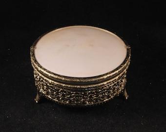 Vintage small metal jewelry box