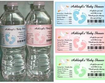 30 BABY SHOWER FAVORS water bottle labels ~ Glossy ~ Waterproof Ink