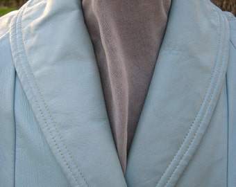 Leather coat, 1960s aquamarine, sky blue, wrap style, buttery soft leather beauty, size 10, size 12