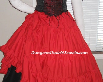 DDNJ U Choose Fabric 4pc UnderBust Corset Chemise Multi Tier Skirt Plus Custom Made ANY Size Renaissance Gothic Pirate Gypsy Costume LARP