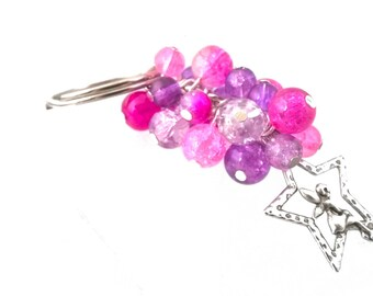 Pink & Purple Star Fairy, Faerie, Fae Beaded Keyring, Key Chain, Bag Accessory, Gift for Her