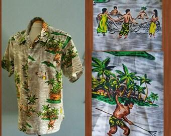 Men's vintage Hawaiian, fishing village print