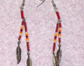 Native American Beaded Red Dangle Earrings