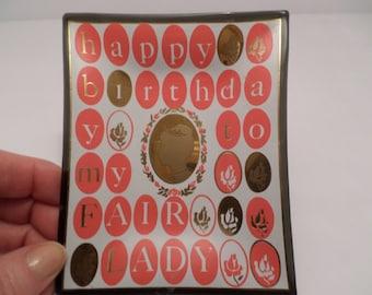 My Fair Lady vintage Happy Birthday Vintage 60's Tray jewelry dish, trinkets Silhouette of princess